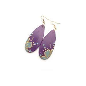 Violet Long Teardrop Ceramic Earrings